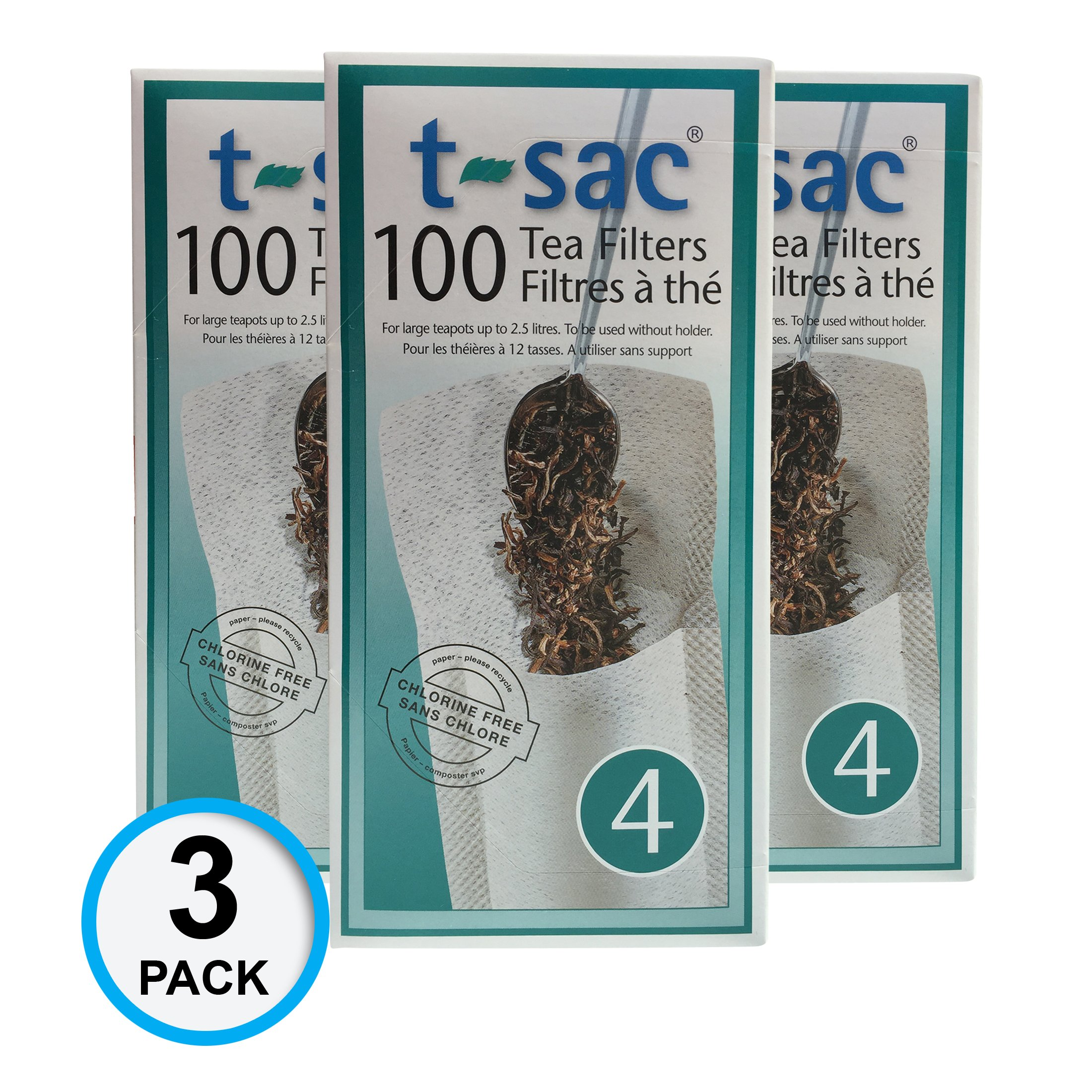 Modern Tea Filter Bags, Disposable Tea Infuser, Size 4, Set of 300 Filters - 3 Boxes - Heat Sealable, Natural, Easy to Use Anywhere, No Cleanup – Perfect for Teas, Coffee & Herbs - from Magic Teafit