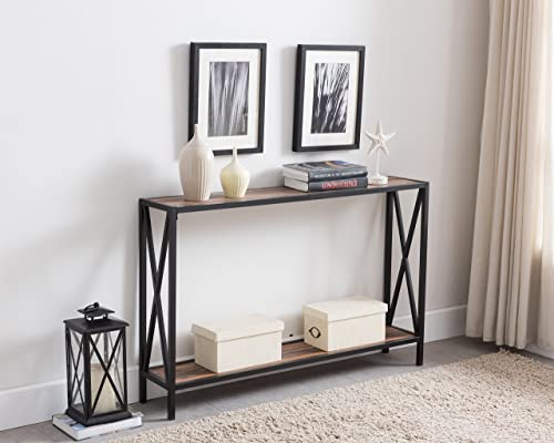Reclaimed Weathered Oak Black Metal Frame 2-Tier Entryway Console Sofa Table with X-Design Sides