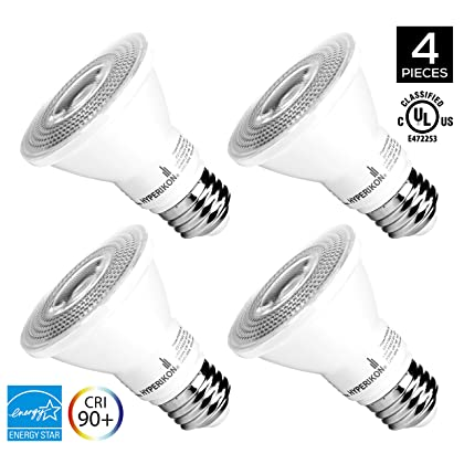 Hyperikon PAR20 Dimmable LED Bulb, 8W (50W equivalent), 3000K (Soft White Glow), CRI90+, Flood Light Bulb, 40° Beam Angle, Medium Base (E26), ENERGY STAR & UL Listed - (Pack of 4)