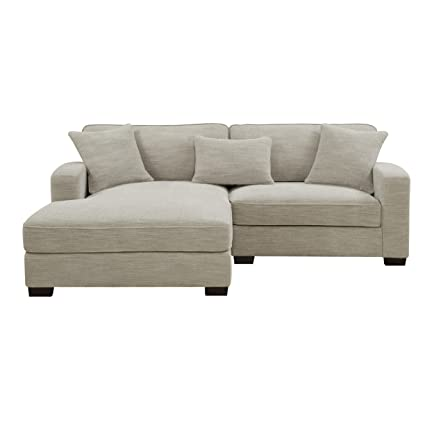 Emerald Home Repose Silver Sectional, with Pillows, Ultra Soft Fabric, Track Arms, and Block Legs