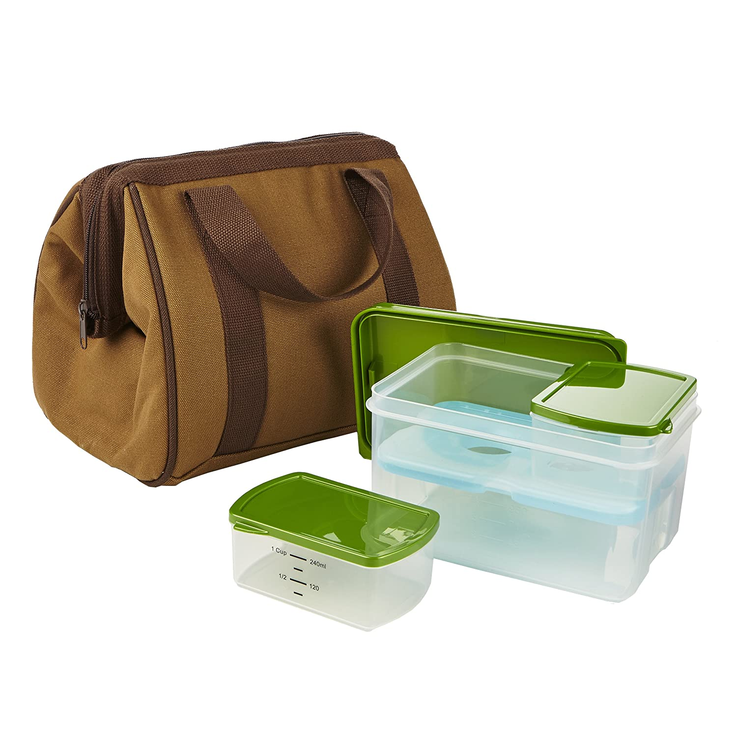 Fit & Fresh 3020KIT344 Men's Big Phil Lunch Bag Kit with Lunch on the Go Container, Brown/Green 3020FF344LS