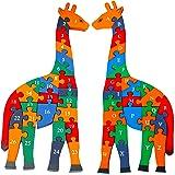 Toys of Wood Oxford Girafe Chiffres et Lettres en Bois Jigsaw Puzzle 41 CM de Grande Taille - Blocs Alphabet Jouets éducatifs en Bois pour 3 Ans