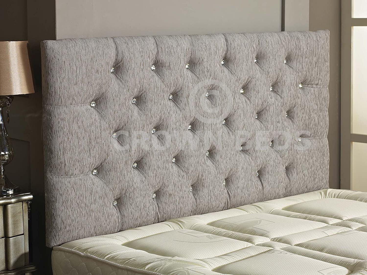 CROWNBEDSUK CHESTERFIELD DIAMANTE BUTTON HEADBOARD IN 2ft6,3ft,4ft,4ft6,5ft,6ft !!!!NEW!!!! (IVORY, 2FT6 (SMALL SINGLE) DIAMANTE)