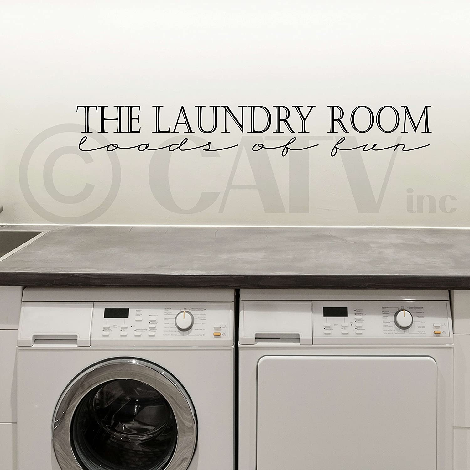 Amazon Com The Laundry Room Loads Of Fun Wall Sayings Vinyl Lettering Home Decor Stickers Quotes Appliques Home Kitchen
