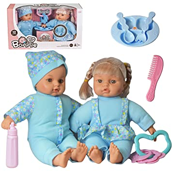 """5a83517d42c1 The Magic Toy Shop 12"""" Twins Dolls with 6 Sounds Twin Babies Cuddles Baby  Girl"""