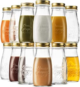Bormioli Rocco Quattro Stagioni Glass Drinking jar bottle 13½ Ounce Milk Bottles with Gold Metal Airtight Lids, For Juicing, Smoothies, Homemade Beverages Bottle, Reusable Glass Water Bottle (12 Pack)
