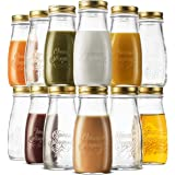 Bormioli Rocco Quattro Stagioni Glass Drinking jar bottle 13½ Ounce Milk Bottles with Gold Metal Airtight Lids, For…