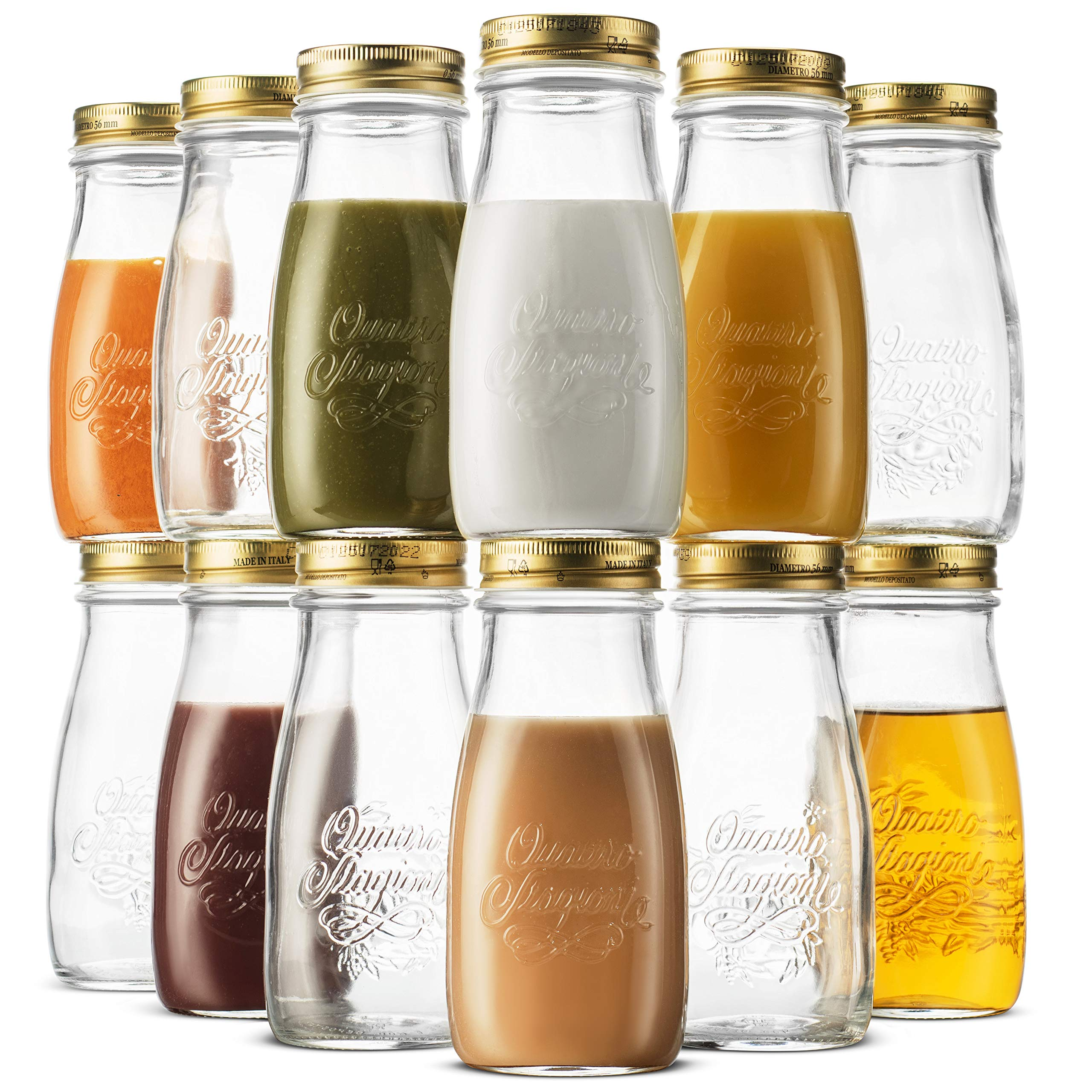 Bormioli Rocco Quattro Stagioni Glass Drinking jar bottle 13½ Ounce (12 Pack) Milk Bottles with Gold Metal Airtight Lids, For Juicing, Smoothies, Homemade Beverages Bottle, Reusable Glass Water Bottle