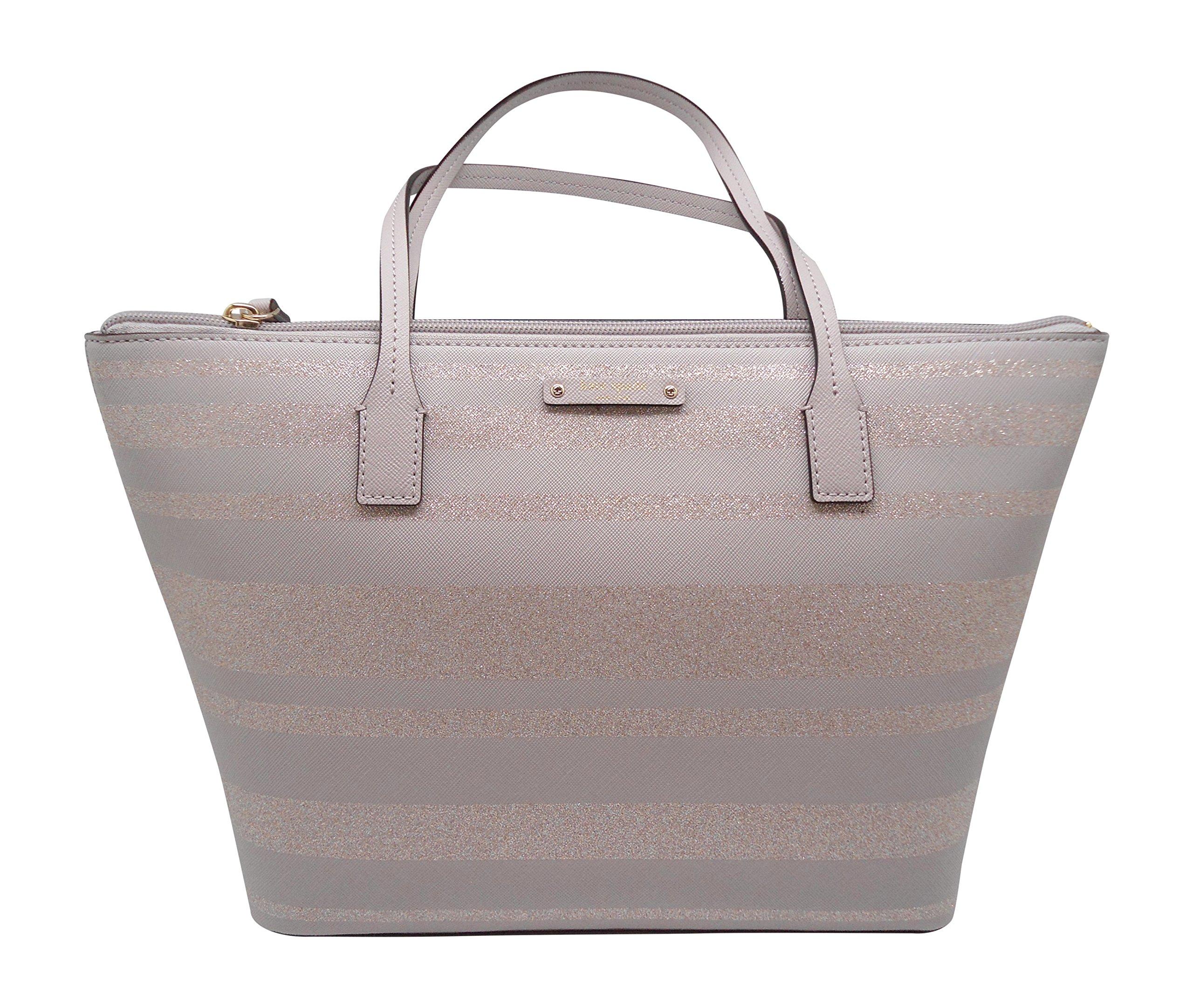 Kate Spade New York Haven Lane Hani Shoulder Handbag (Grey Glitter Stripe)