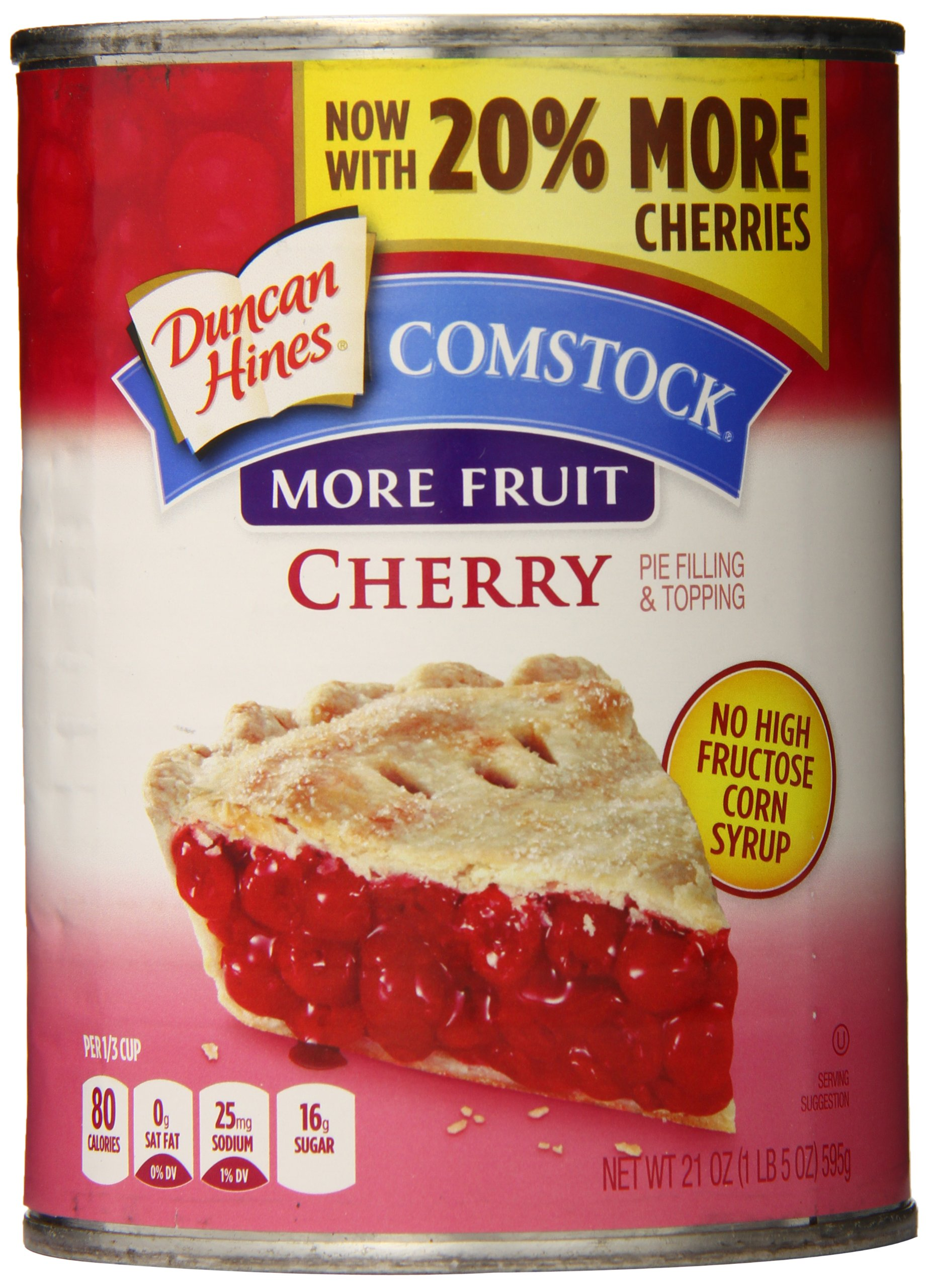 Comstock More Fruit Cherry Pie Filling and Topping, 21-Ounce (Pack of 4)