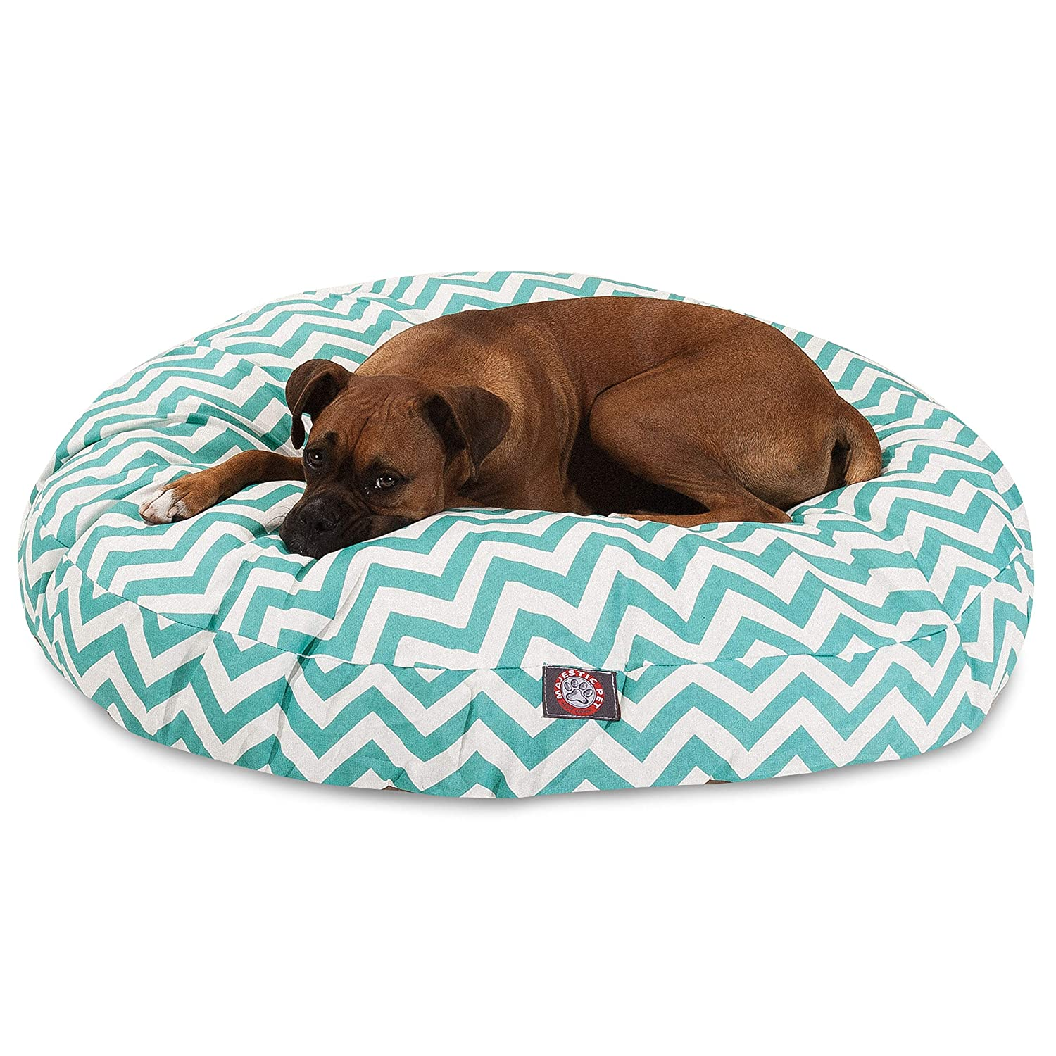 Teal Chevron Large Round Indoor Outdoor Pet Dog Bed with Removable Washable Cover by Majestic Pet Products