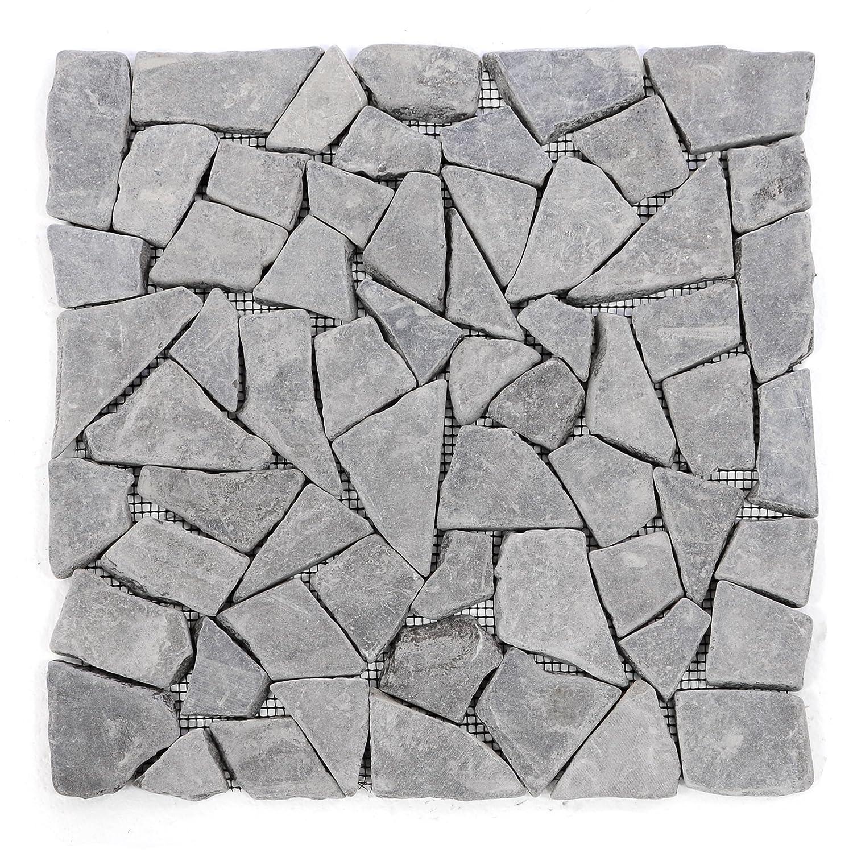 Divero 11 Fliesenmatten Naturstein Mosaikfliesen aus Marmor f/ür Wand und Boden grau /á 30 x 30 cm