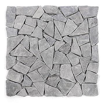 Divero 11 Matten 30 X 30cm Marmor Naturstein Mosaik Fliesen Für Wand Boden  Bruchstein Grau