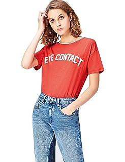 Marca Amazon - find. Camiseta con Mensaje con Cuello Redondo Mujer: Amazon.es: Ropa y accesorios