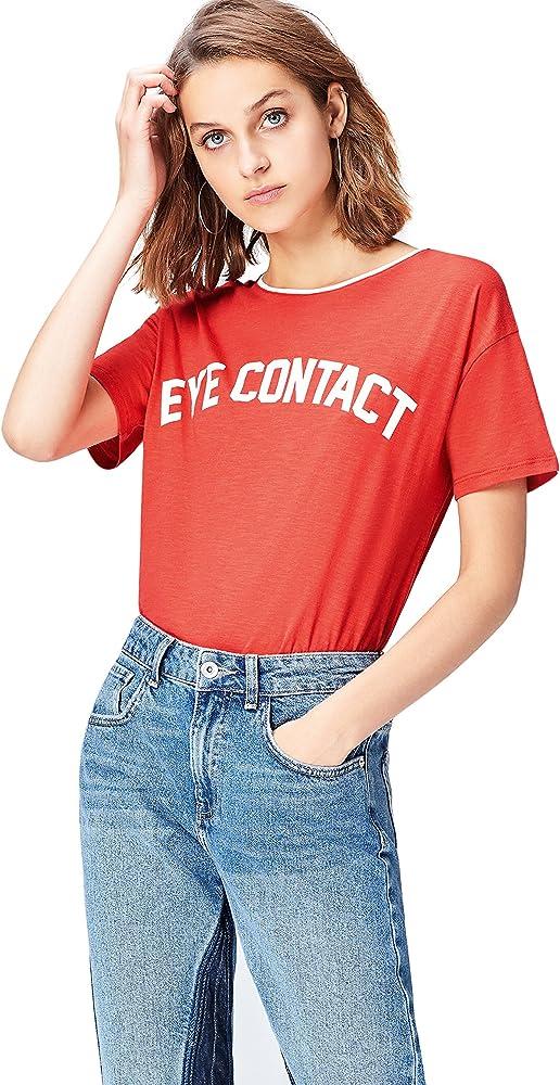 Camiseta con Mensaje con Cuello Redondo Mujer find