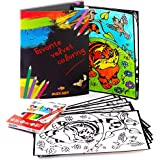 "[2019 New] Best Birthday Arts and Crafts Gift – Art Craft Kit of 12 Velvet Coloring Posters Each 10""x14"" with 12 Washable Markers for Kids – Top Toy Set for Girls Boys Age 3 4 5 6 7 8 9 10 Year Old"