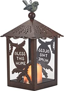 Garden Gifts by Precious Moments Bless This Home Decorative Rustic Lantern Battery Operated LED Flameless Candle Indoor/Outdoor Tabletop Garden Decor 185005
