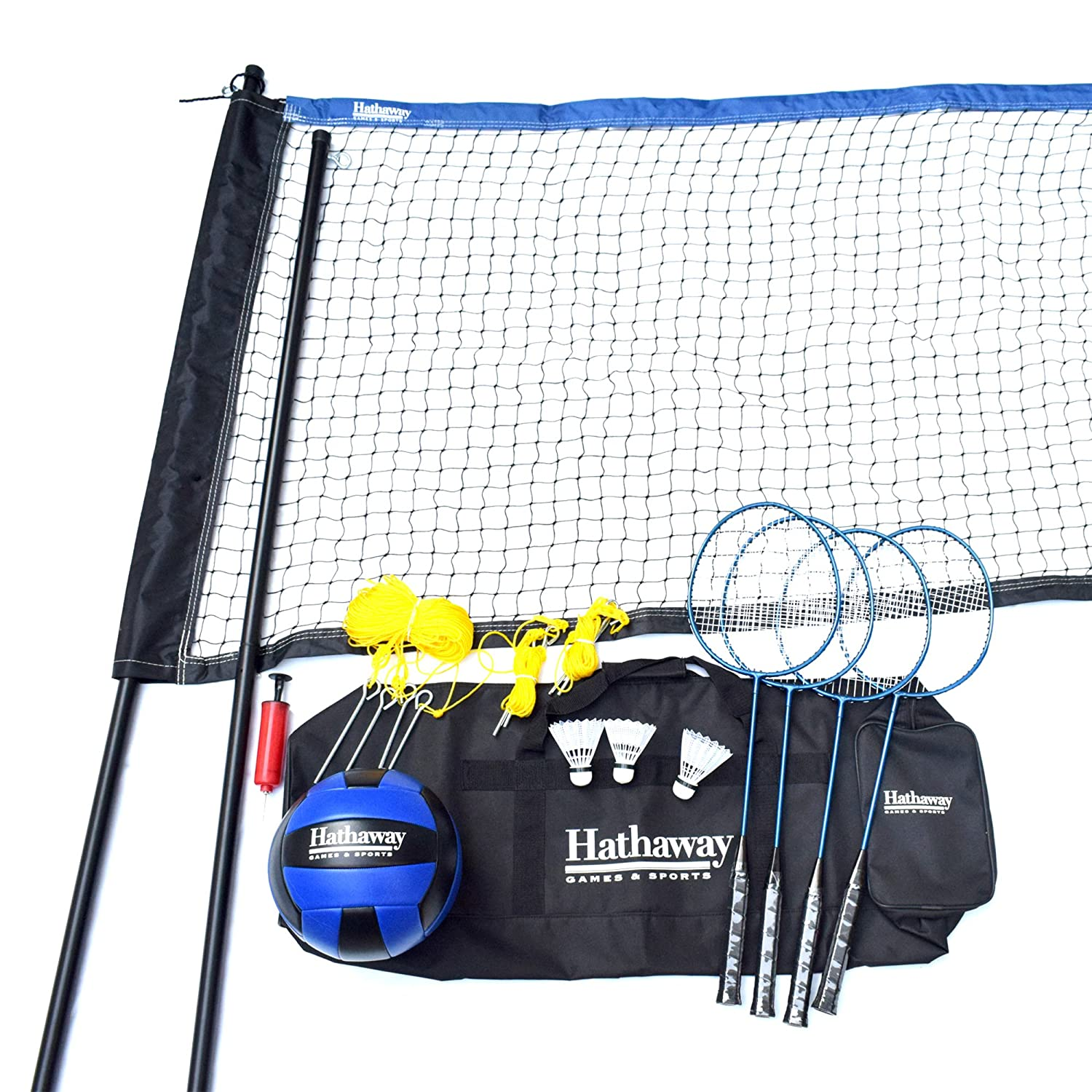 Hathaway Volleyball/Badminton Complete Combo Set White Blue Wave Products - sporting goods BG3141