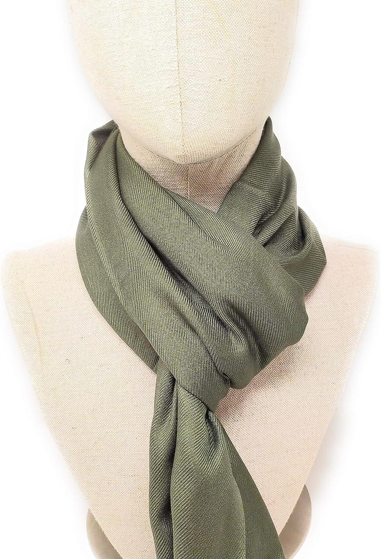 scialle Indian Accessories foulard Pashmina 180 x 70 cm Verde oliva Taglia unica sciarpa