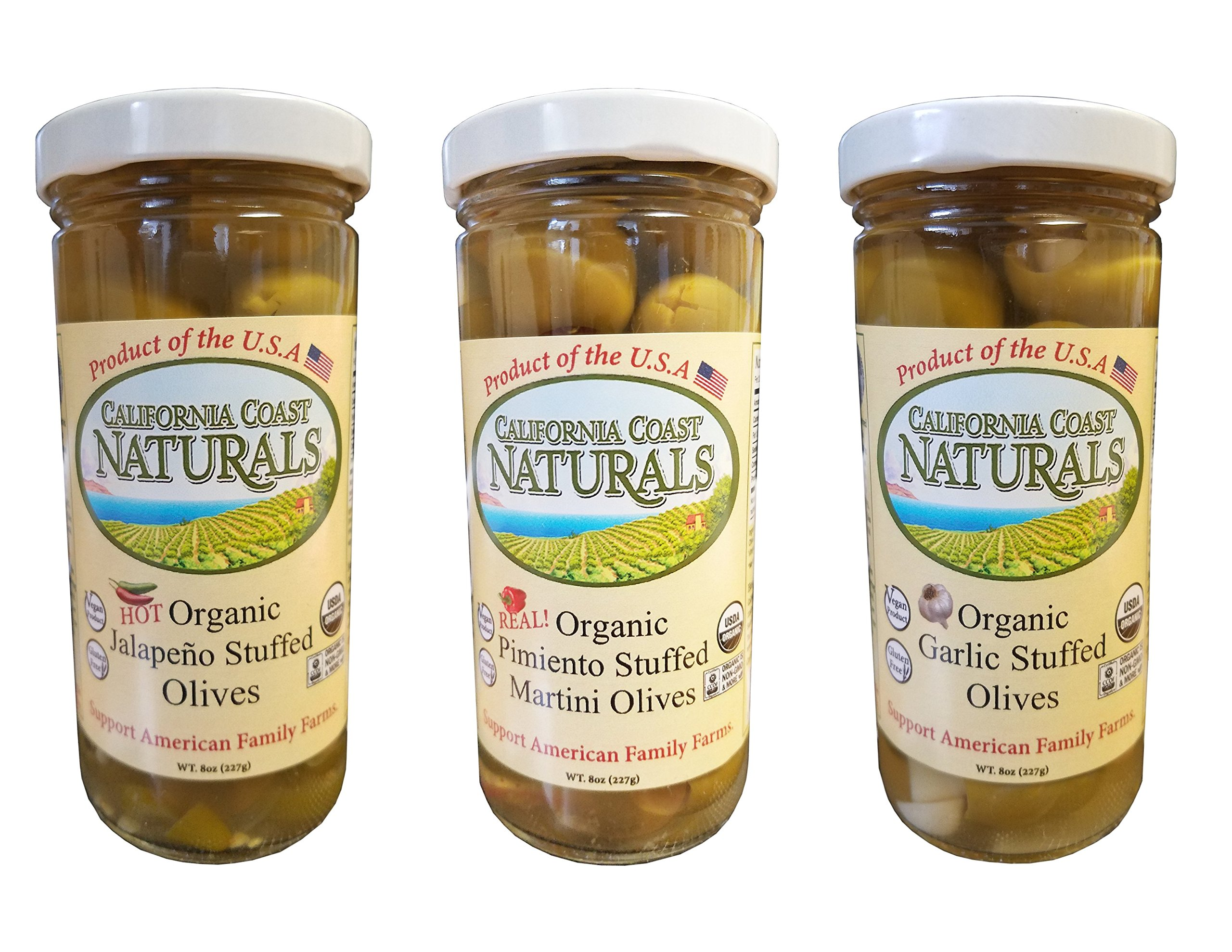 California Coast Naturals Hand Picked USDA Organic Stuffed Olive 3 Pack, Non-GMO, Gluten Free