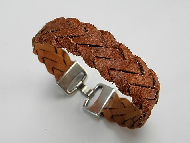 f94f7782565fd Amazon.com: Kangaroo Leather Saddle Tan Lace Flat Braid Bracelet ...