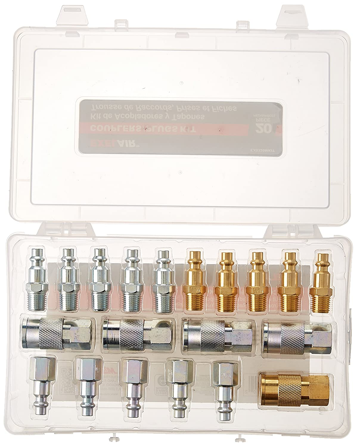 """EXELAIR by Milton EX0320MKIT - Air Coupler and Plug Accessory Kit - 1/4"""" M-Style Steel/Brass Couplers and 1/4"""" M-Style Steel/Brass Plugs - (20-Piece)"""