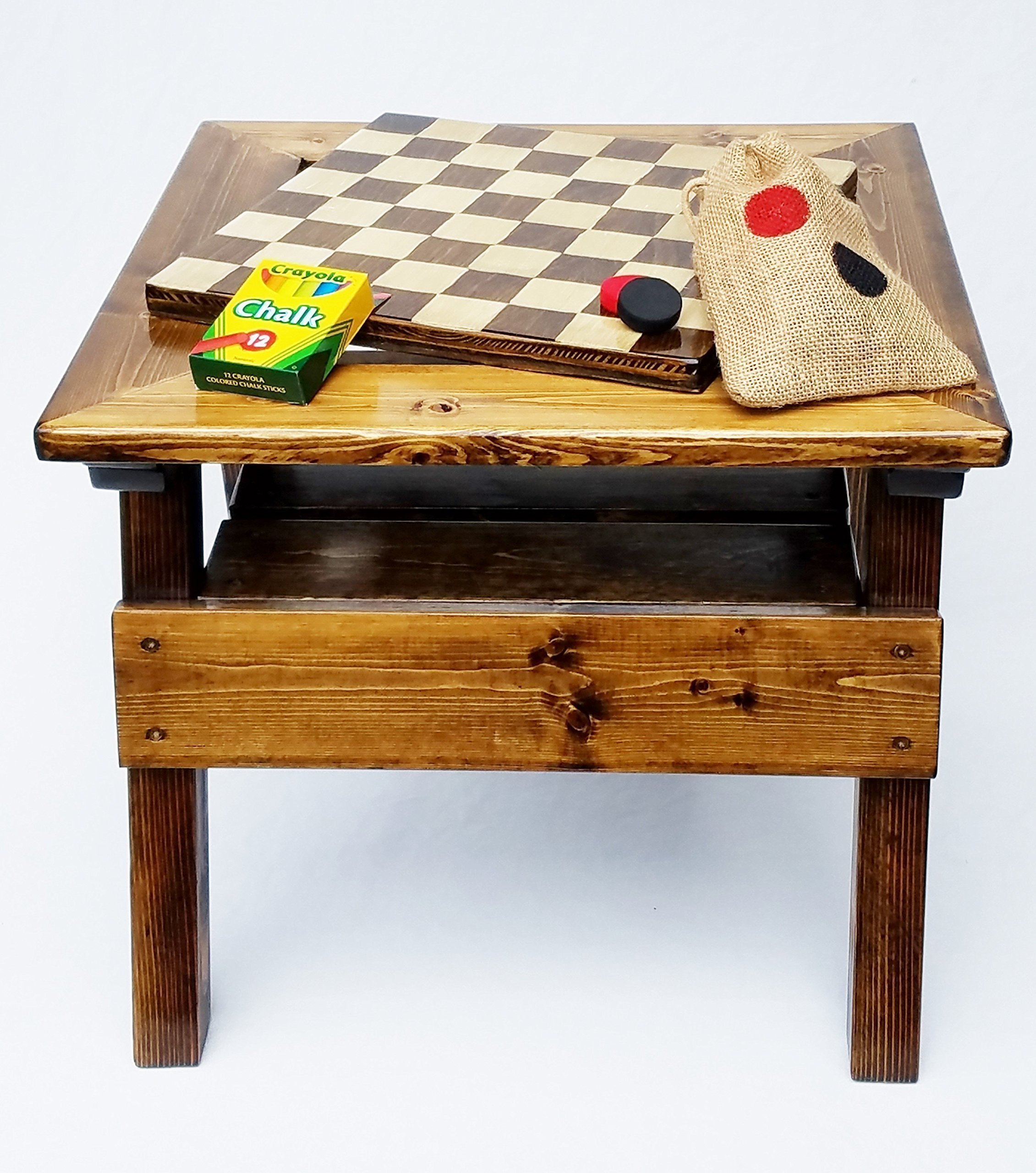 Kids Checkers and Chalkboard, 2-sided game board, Solid Wooden Game and Activity Table, Indoor / Outdoor