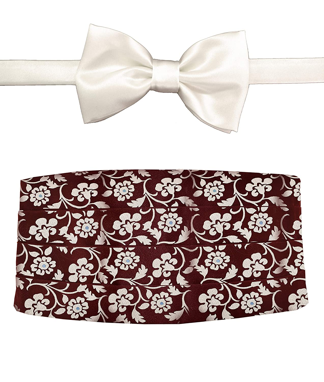 Remo Sartori Made in Italy Mens Burgundy Flower Cummerbund Tuxedo Belt /& BowTie Set Silk