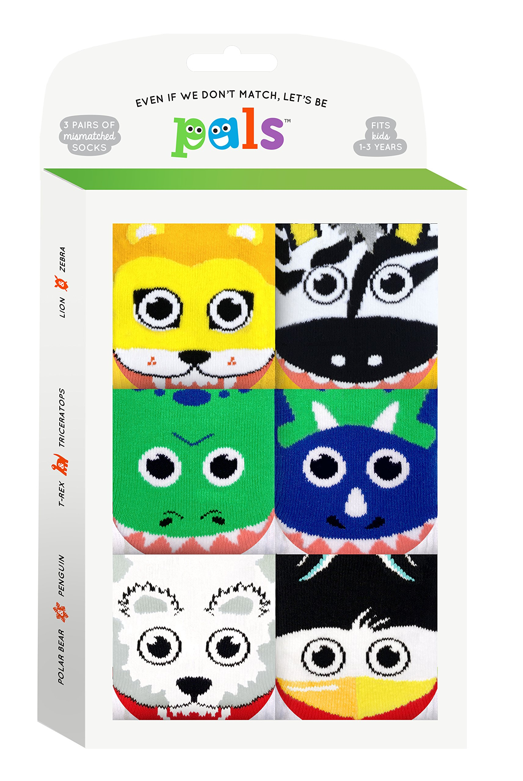 Lion and Zebra, T-Rex and Triceratops, Polar Bear and Penguin - Toddler Sock Set - Mighty Mates Mismatched Friends 3-Pack by Pals Socks (Image #2)