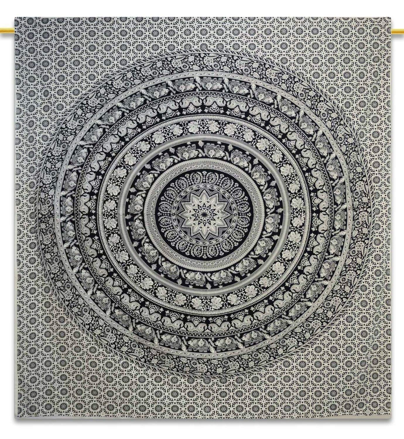 Craftozone Black and White Bohemian Mandala tapestry Home Decor Double Hippie wall hanging Bedspread 92x82 inch