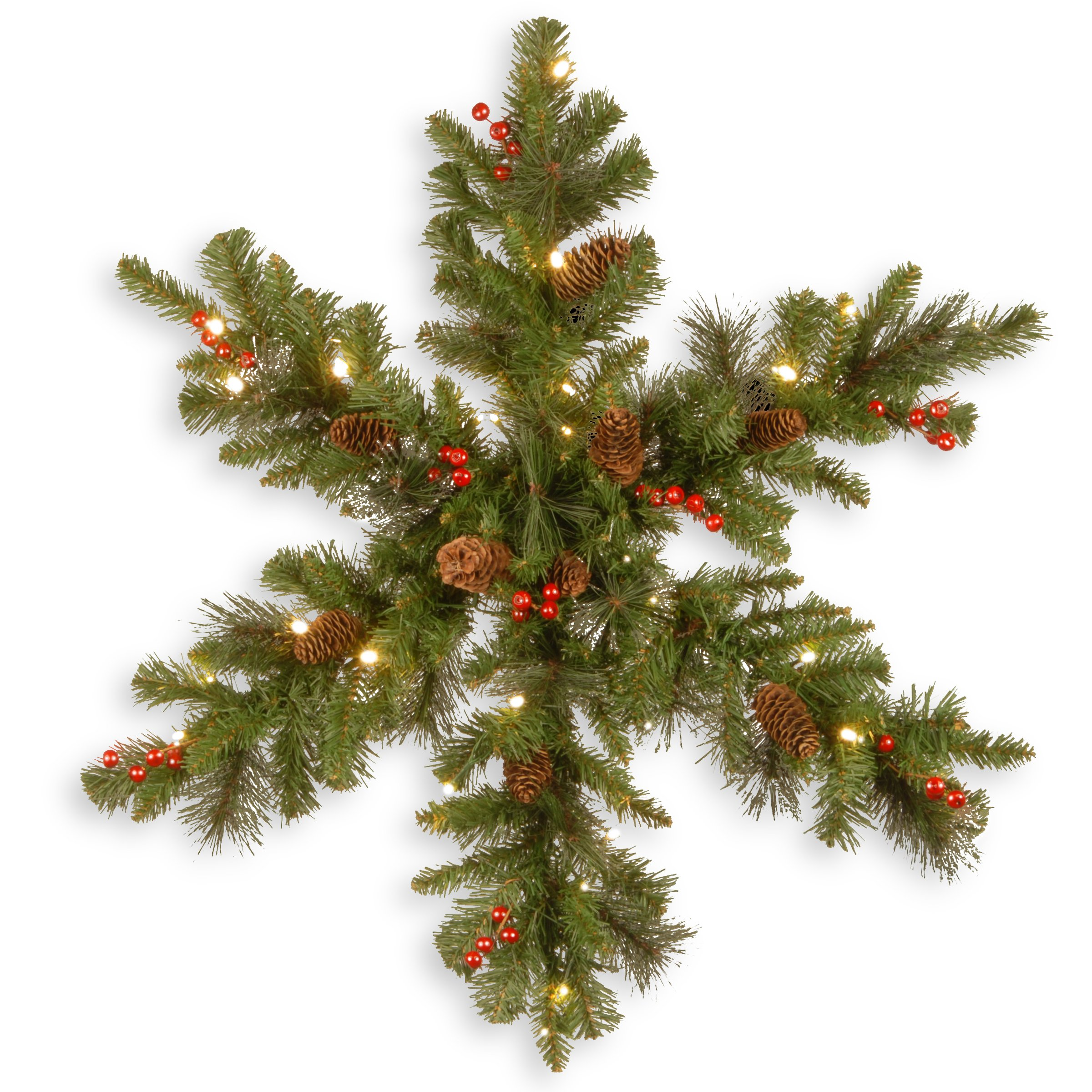 National Tree 32 Inch Crestwood Spruce Snowflake with 9 Cones, Glitter, 9 Red Berries, Silver Bristle and 35 White Battery Operated LED Lights with Timer (CW7-306-32SB4-1)