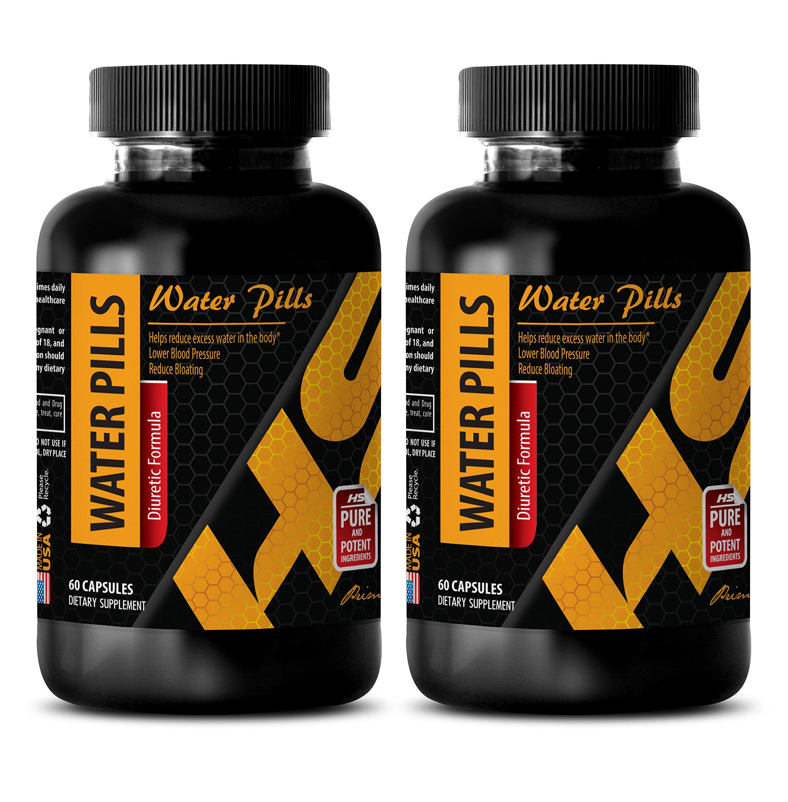 Diuretic pills - WATER PILLS (Diuretic Formula) - Water pills for high blood pressure - Potassium supplement bulk - 2 Bottles 120 Capsules