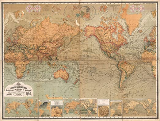 US SELLER wall Antarctica New age of expoloration map kraft paper retro poster