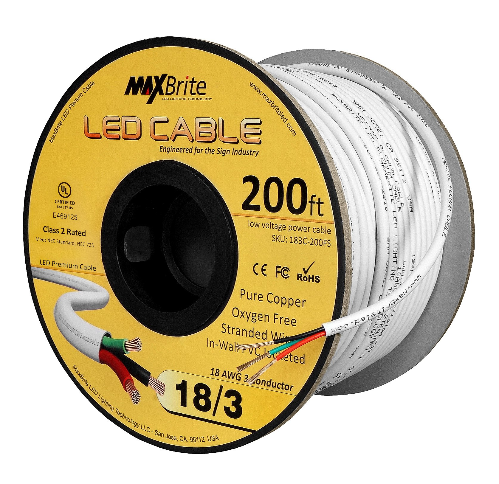 18AWG Low Voltage LED Cable 3 Conductor Jacketed in-Wall Speaker Wire UL/cUL Class 2 (200 ft Reel) by US LED Superstore