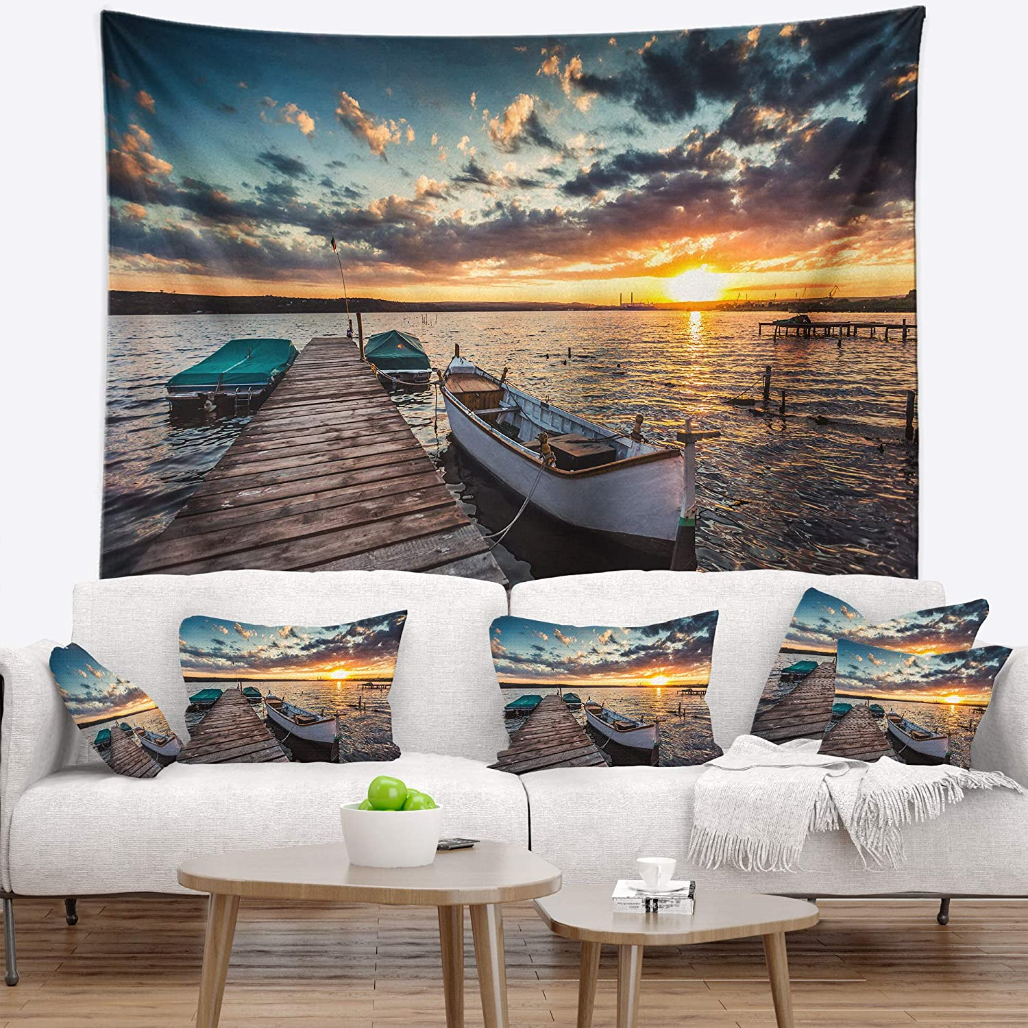 Designart TAP14688-80-68  Boats and Jetty Under Dramatic Sky Modern Blanket D/écor Art for Home and Office Wall Tapestry x Large x 68 in 80 in Created On Lightweight Polyester Fabric