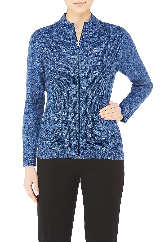 Plus Textured Knit Mock Neck Zip Cardigan Nygard 56492723