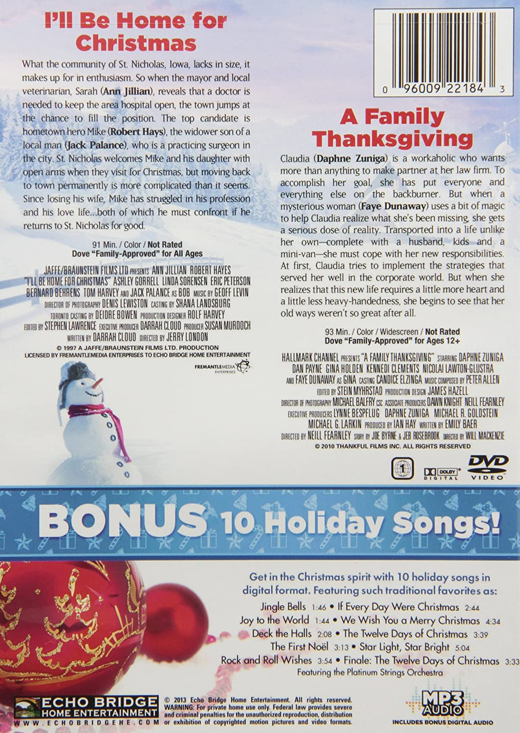 Amazon.com: A Family Thanksgiving / I\'ll Be Home for Christmas with ...