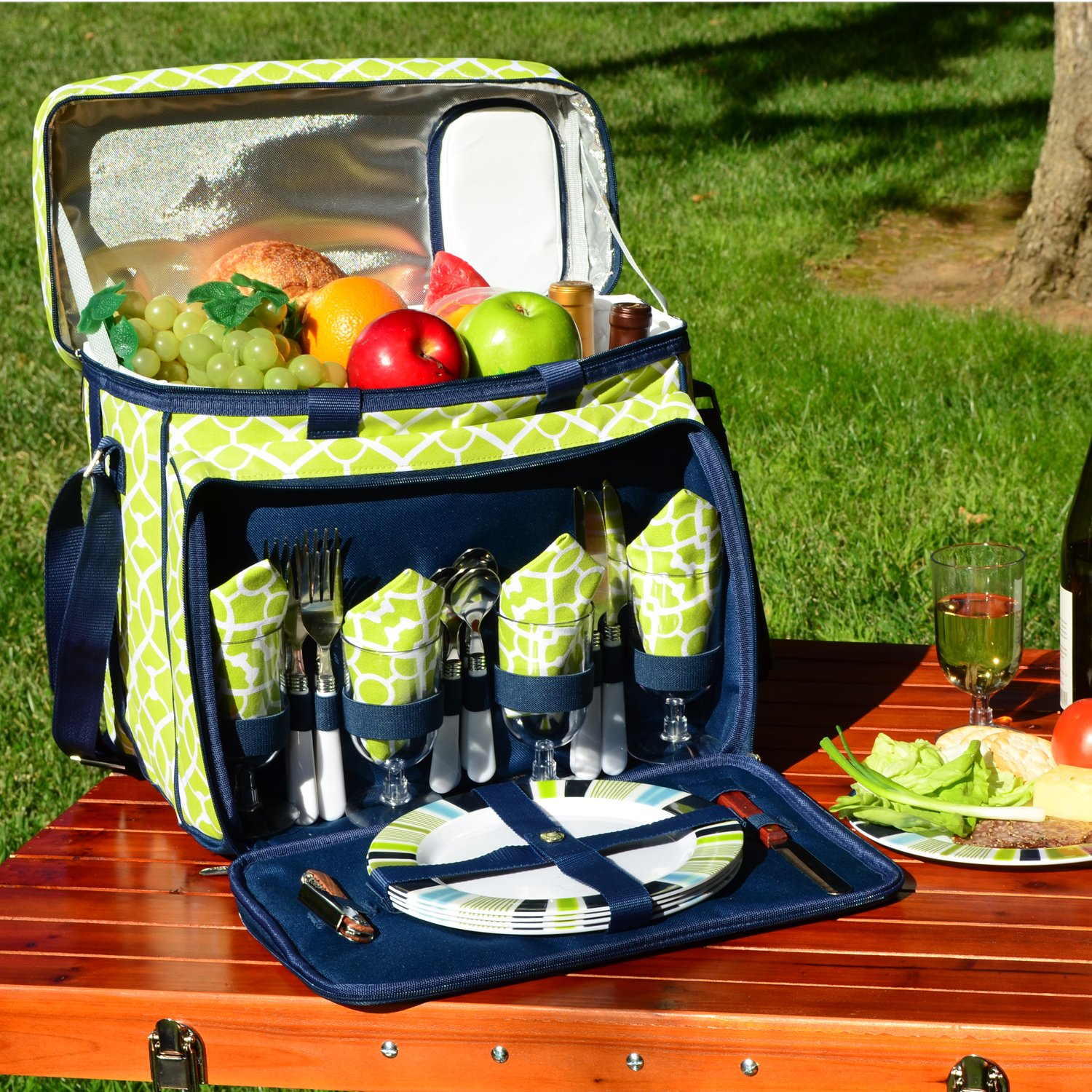 Picnic at Ascot Equipped Insulated Picnic Cooler with Service for 4 Trellis Green