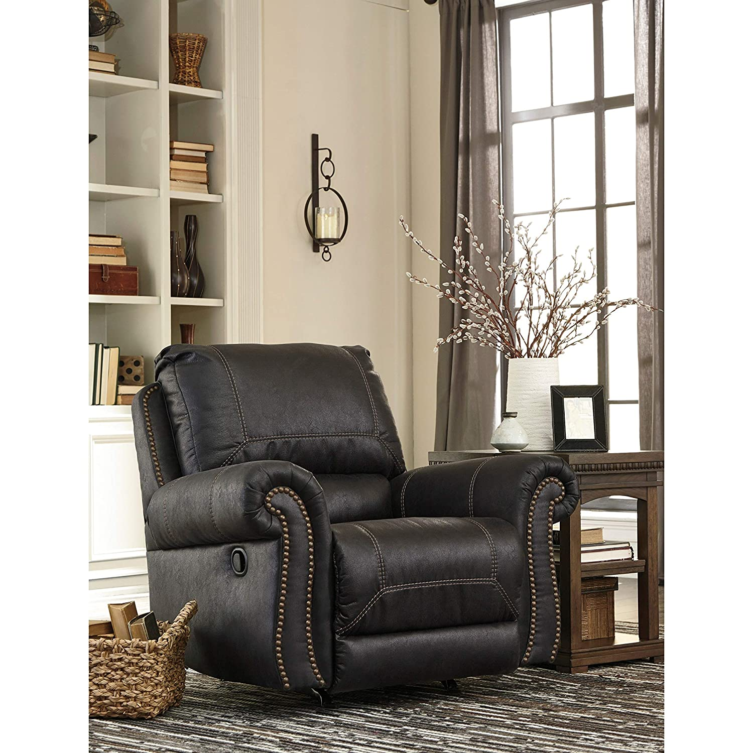 Amazon com ashley furniture signature design milhaven faux leather upholstered rocker recliner contemporary black kitchen dining