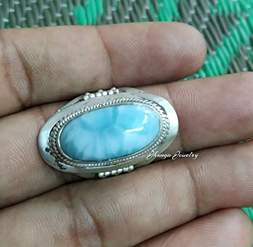 Larimar Ring Statement Jewelry Statement Ring 925 Sterling Silver Ring Gifts for her Birthstone Jewelry Handmade Ring Boho Rings