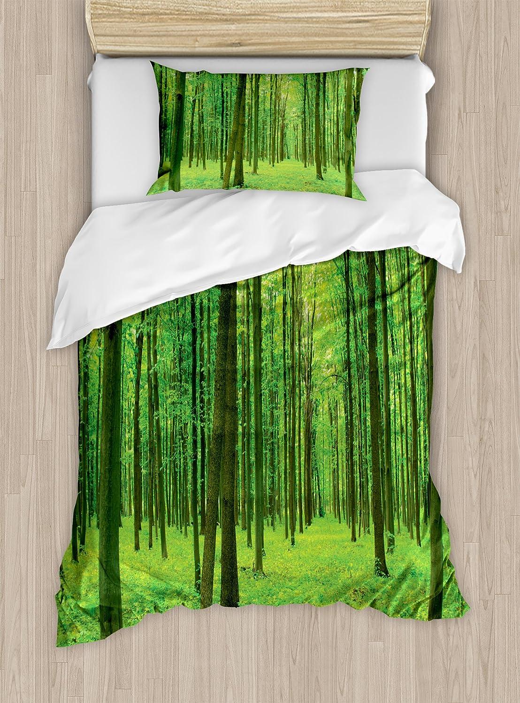 フォレスト布団カバーセットby Ambesonne、Sun Illuminating緑のForest In Springtime Fresh Air風景画像印刷、装飾寝具セットwithピロー、ライムグリーン TWIN / TWIN XL nev_9350_twin B075V49MCLマルチ1 TWIN / TWIN XL