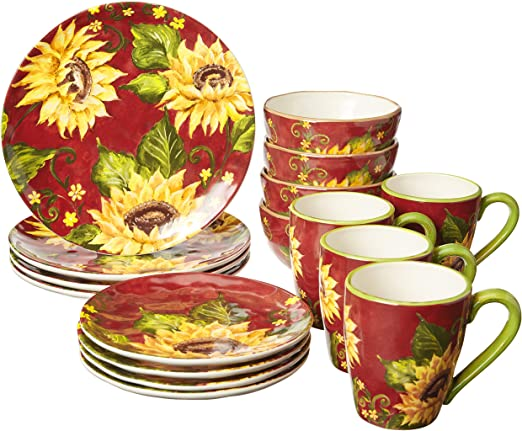 Service for 4,One Size Certified International Sunset Sunflower  16 pc Dinnerware Set Multicolored