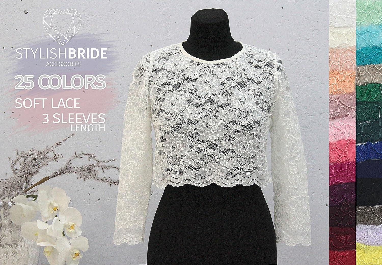 Amazon Elise Lace Crop Top With Long Sleeveslace Crop Toptops