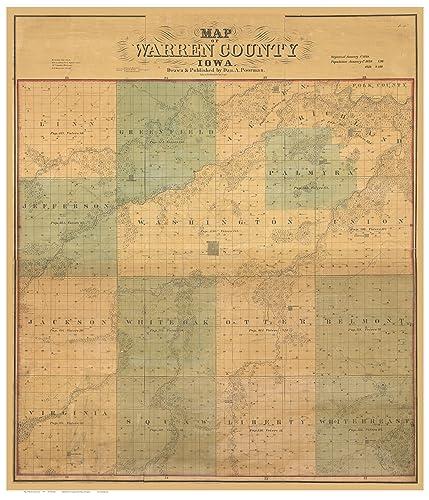 Warren County Iowa Map.Amazon Com Warren County Iowa 1859 Wall Map With Landowner Names