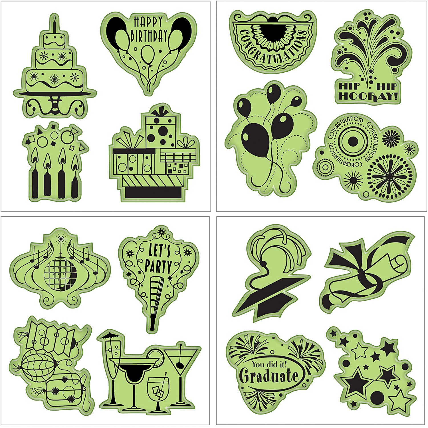 Inkadinkado 65-32073 Stamping Gear Cling Stamps, Pinecones and Evergreen EKS
