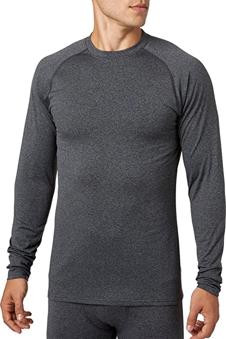 5e416479c87 Reebok Men s Cold Weather Compression Heather Crewneck Long Sleeve Shirt  (Dark Heather Grey