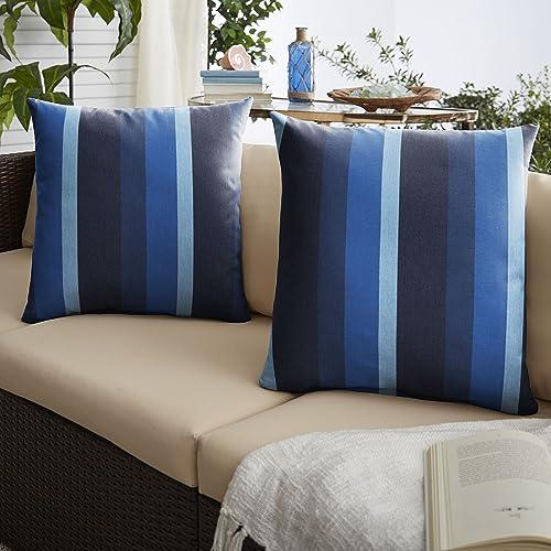Mozaic AMPS115689 Indoor Outdoor Sunbrella Square Pillows, Set of 2 20 x 20 Blue Stripes