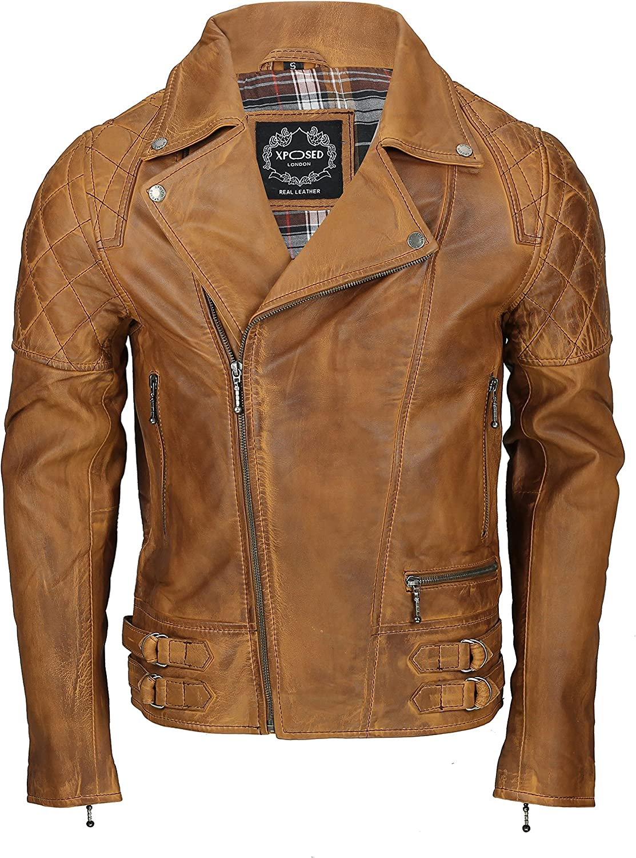 Xposed - Chaqueta de motociclista de piel auténtica para hombre, color negro lavado, marrón antiguo, marrón oxidado, con cremallera, elegante casual