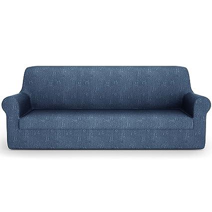 PETTI Artigiani Italiani 2 Plazas, Azul, Fundas Sofa Elasticas, Tejido Jacquard, 100% Made in Italy, (110 a 150 cm)