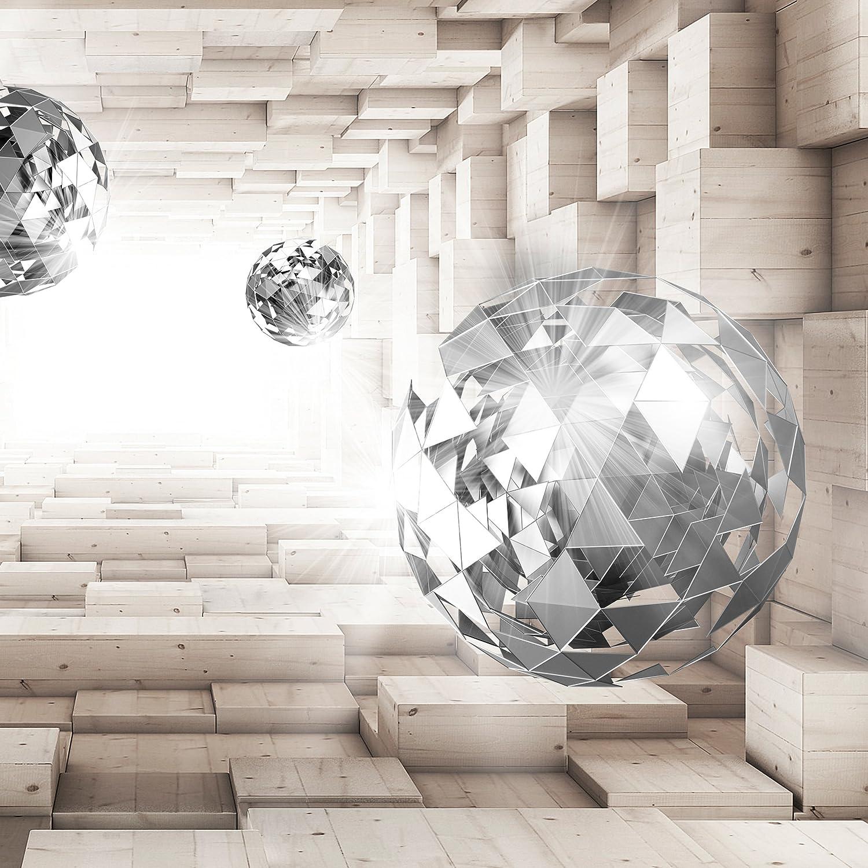 decomonkey D/éco Mural Tableaux Muraux Photo Tunnel Balle Sphere Bois Papier peint intiss/é 3d Effet Abstrait Abstraction 400x280 cm Trompe l oeil